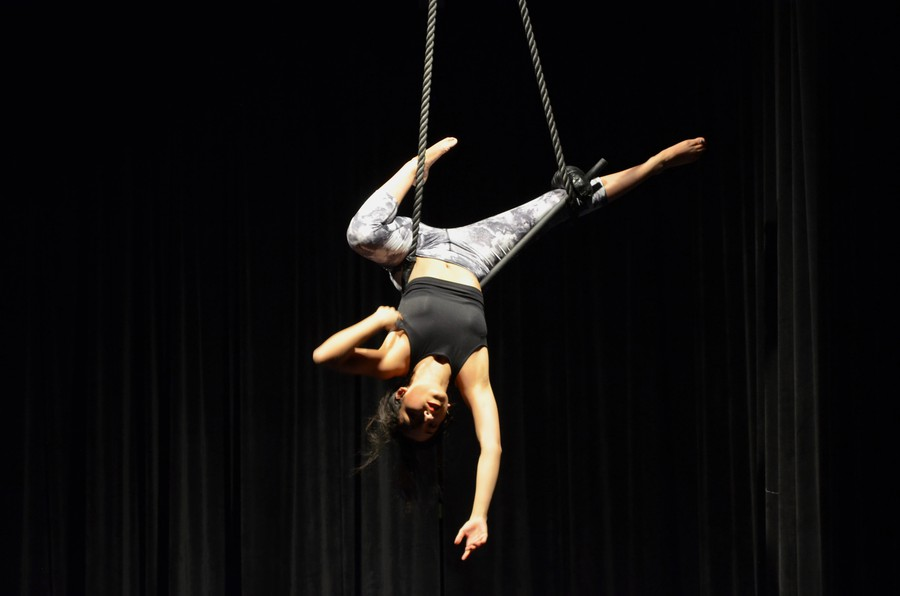 Third-year Hannia Frias performs a trapeze act.
