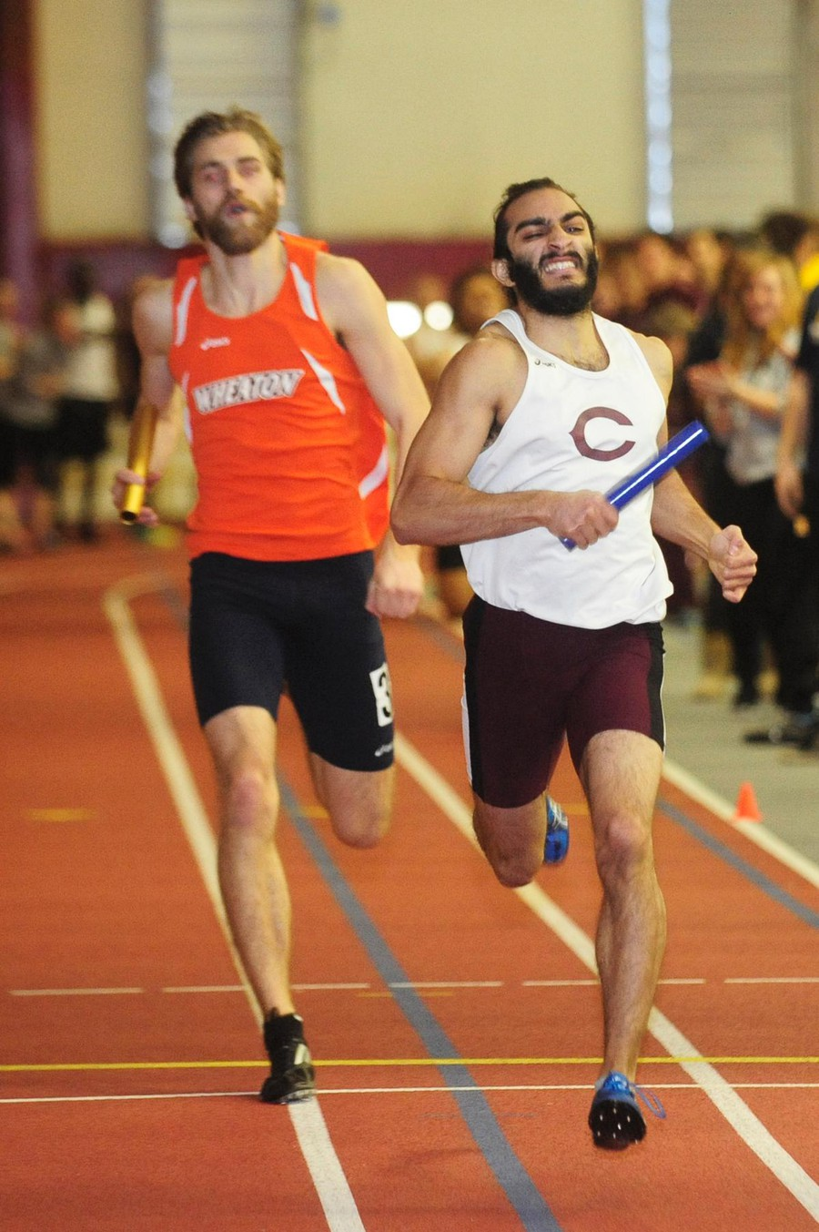 Fourth-year Jatan Anand sprints past his opponents and towards the finish line.