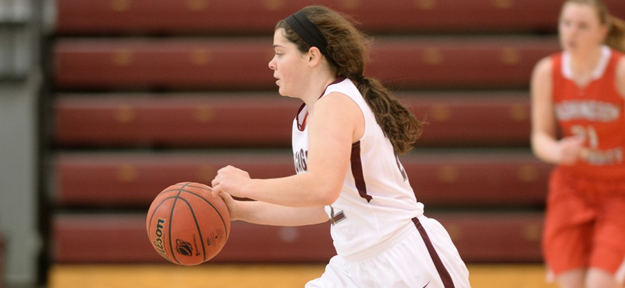 Third-year guard Elizabeth Nye cuts to the basket during a fast break.