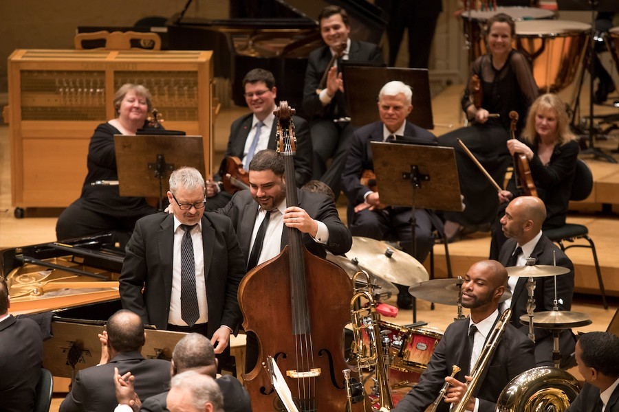 CSO bassist Rob Kassinger took over JLCO bassist Carlos Henriquez's instrument for the encore.
