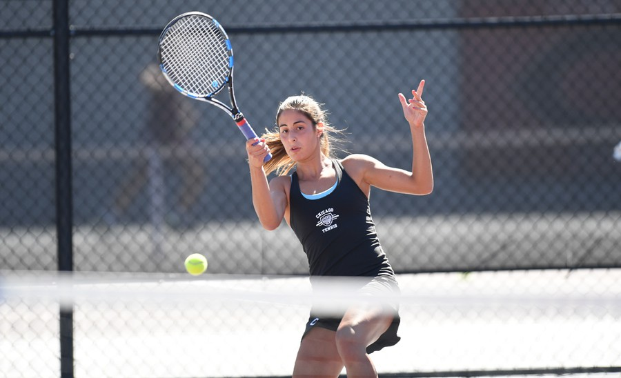 Ariana Iranpour plays a ball in her match against Tufts.