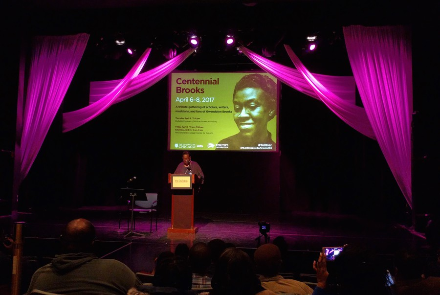 """Gwendolyn Brooks's daughter, Nora Brooks Blakely, gave a speech at the opening night of """"Centennial Brooks"""" last Thursday."""