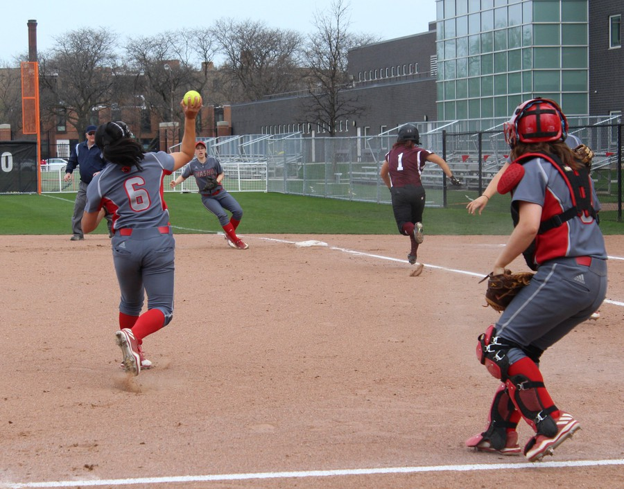 Serena Moss makes her way to first during the team's April 9 win against Wash U.