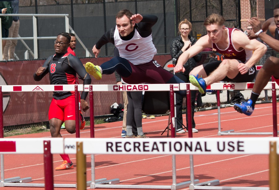 Third-year Will Ackerman clears a hurdle at the Ted Haydon Inviational earlier this month.