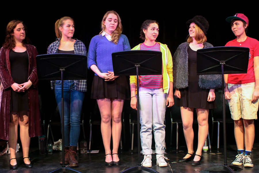 (Left to right) Emily Lovett, Maggie Bader, Saoirse Ryan, Sophie Hoyt, Corinne DiFrancesco, and Maya Jain sing the show's final number.