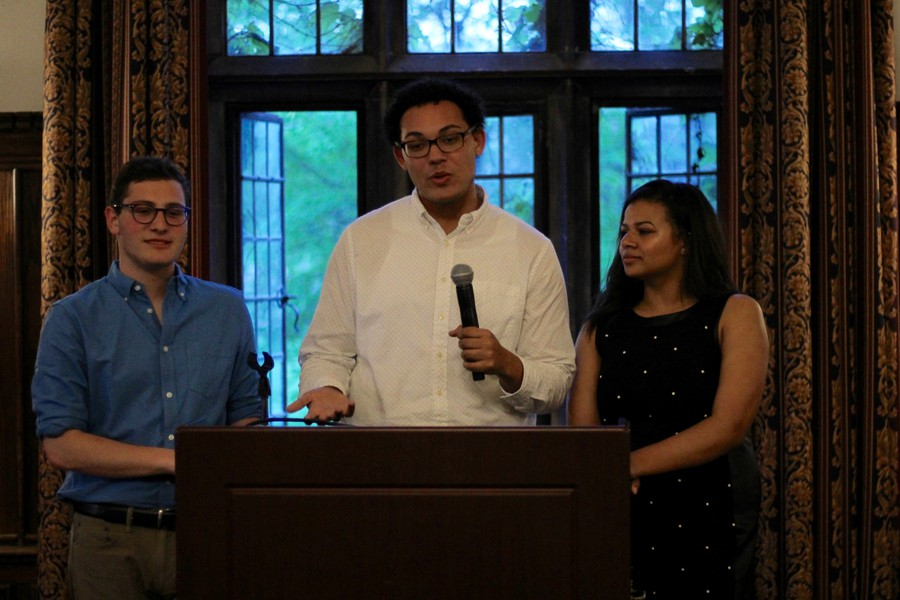 The unopposed Rise slate, consisting of Chase Harrison, Calvin Cottrell, and Sabine Nau (left to right), discusses their plans for heading student government next year