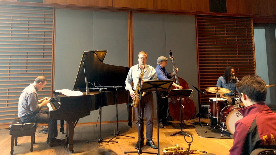 From left to right: pianist Ben Waltzer, saxophonist Geof Bradfield, bassist Clark Sommers, and drummer Dana Hall performed at Logan Center last Sunday afternoon.