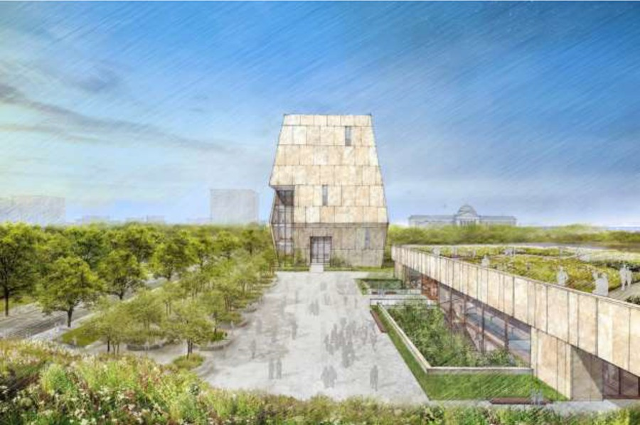 Rendering of the Center from a view looking north.