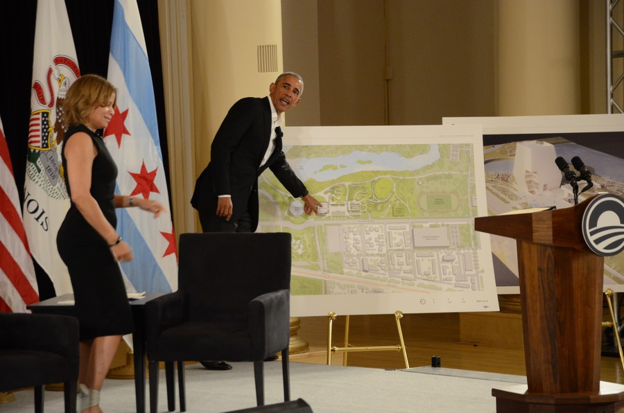 President Obama points to plans for the Center, scheduled to finish construction in Jackson Park within four years.