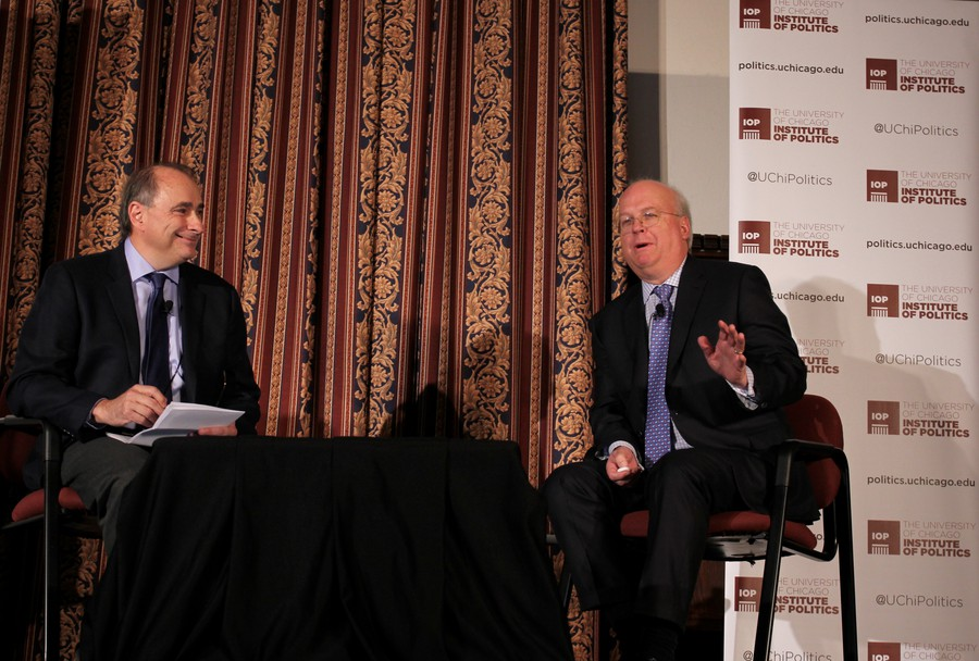 Institute of Politics Director David Axelrod and Karl Rove, Former Deputy Chief of Staff for George W. Bush speak at the IOP.