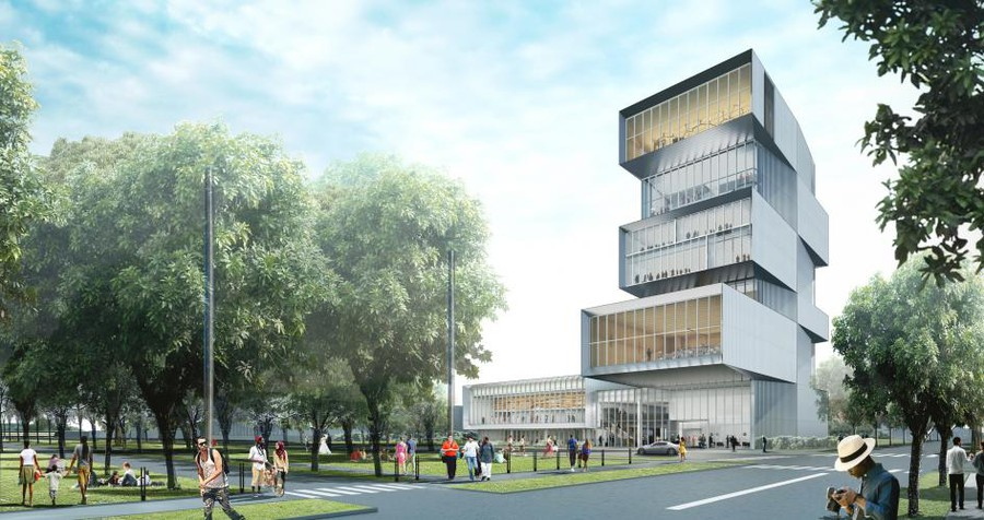The modified design for the Rubenstein Forum includes several cantilevered floors stacked atop a two-story base, which will feature a restaurant, lobby, and event space.