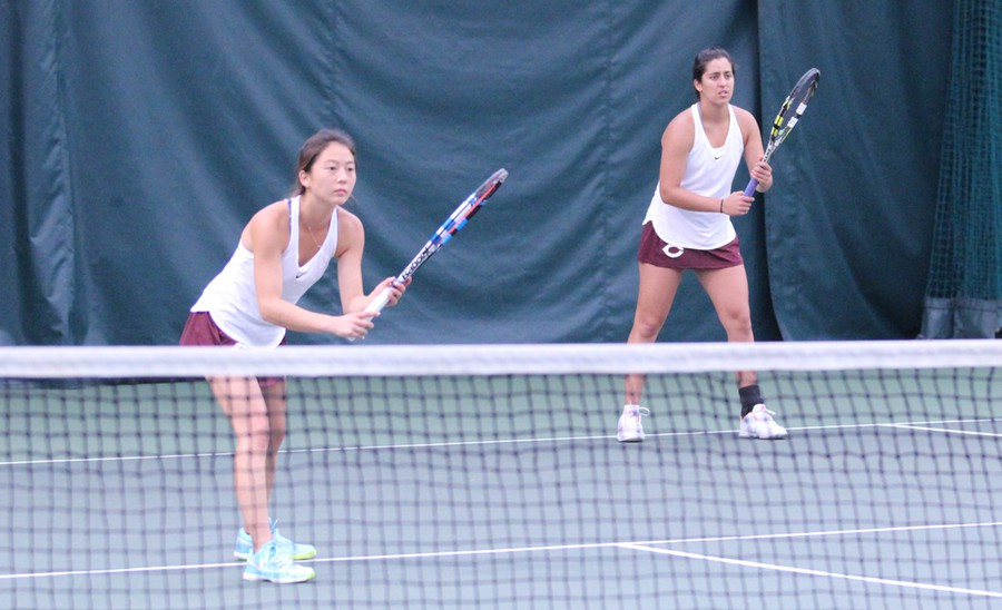 Second-year Rachel Kim and first-year Marjorie Antohi compete in their doubles match.