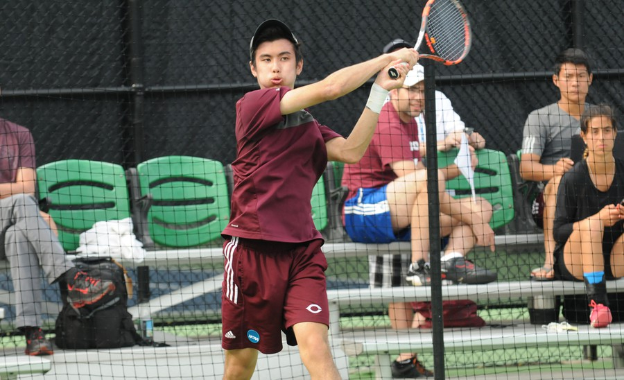 Third-year Nicolas Chua, a semifinalist in the NCAA tournament, returns the ball.