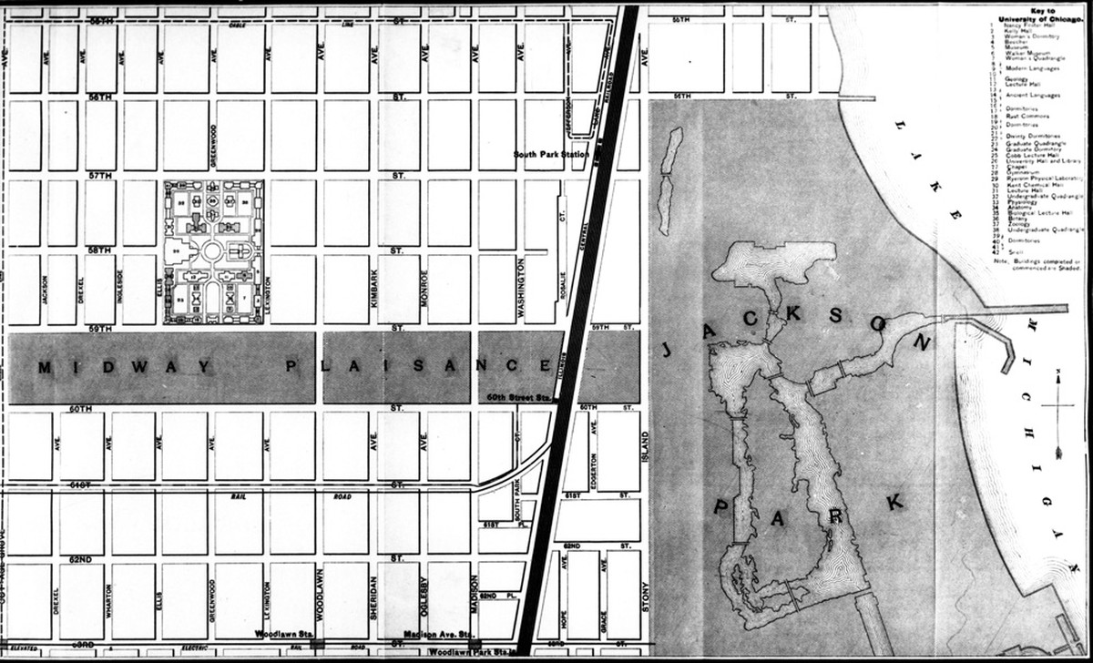 A map of Hyde Park and Woodlawn, as it appeared in 1893, from The University of Chicago Register.