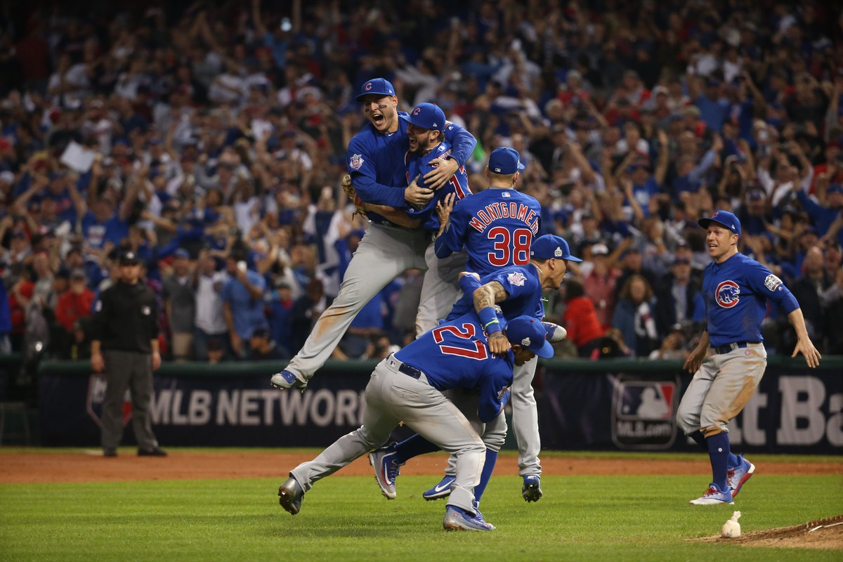 The Cubs celebrate their win over the Cleveland Indians in the World Series last year.