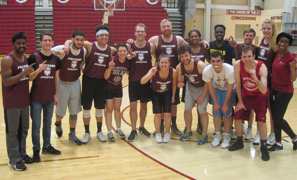 Med students celebrate an intramural basketball win.