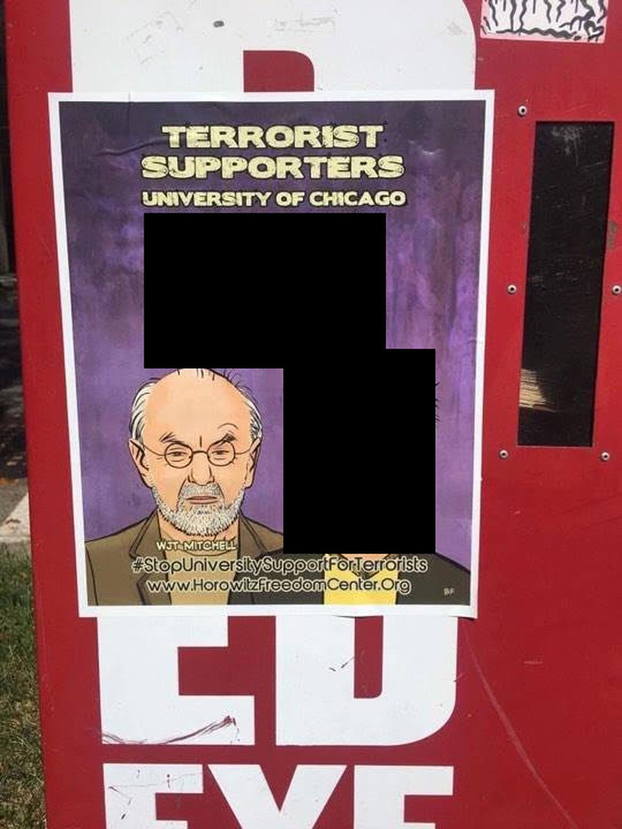 A partially redacted image of one of the posters. A list of names and the face of a faculty member are covered.