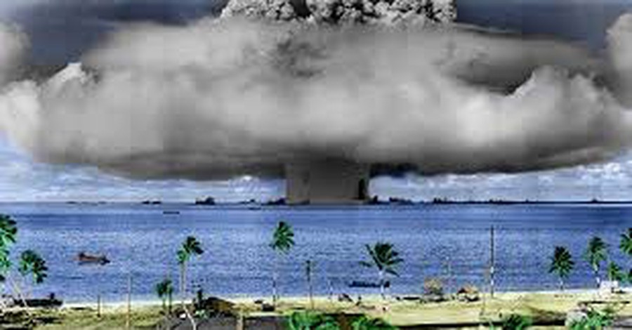 The iconic mushroom-shaped cloud from the Operation Crossroads nuclear explosion tests at Bikini Atoll on July 25, 1946.
