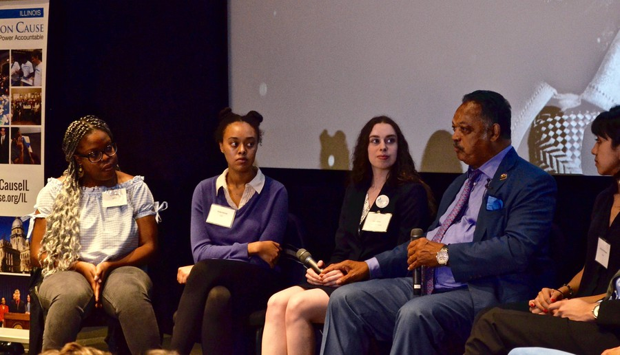 Jesse Jackson discusses political organizing with a panel of student activists.