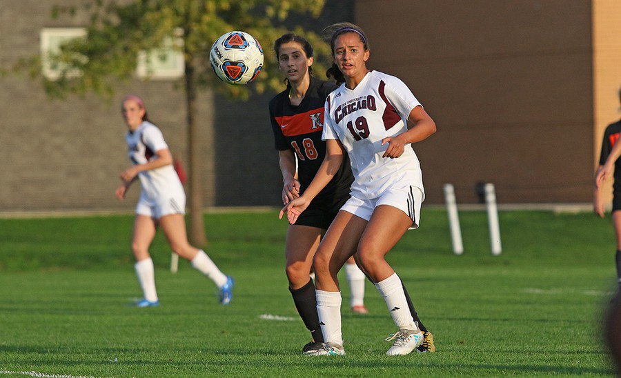 Second-year Julia Lodoen anticipates the ball as she stands directly next to her defender.