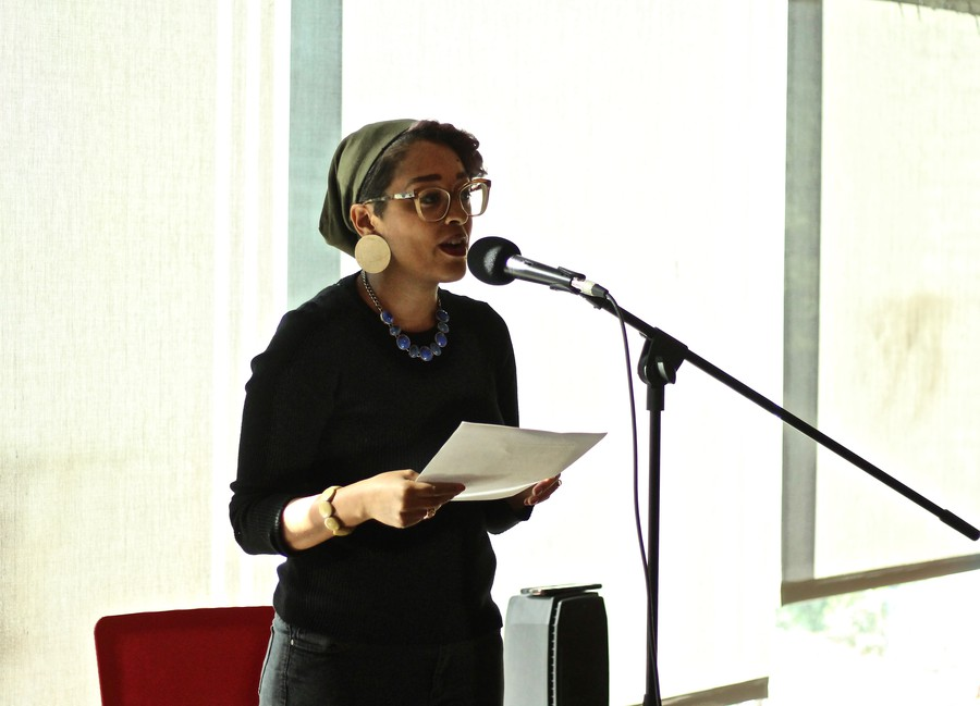 Eve Ewing speaks at the Seminary Co-Op.