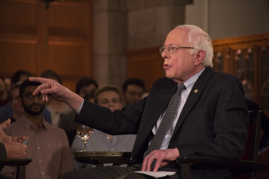 Sen. Sanders speaks at the Quadrangle Club in February, 2016 during an IOP event with Chris Matthews.