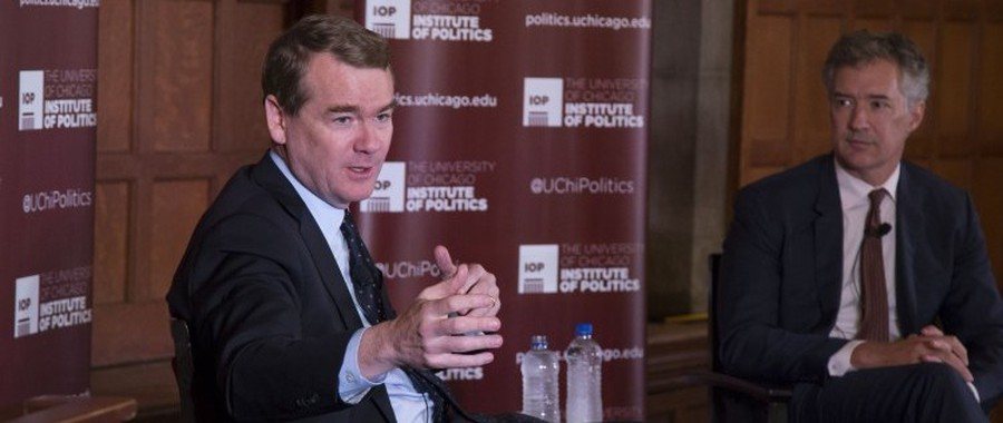 Senator Michael Bennet speaks at the Institute of Politics.