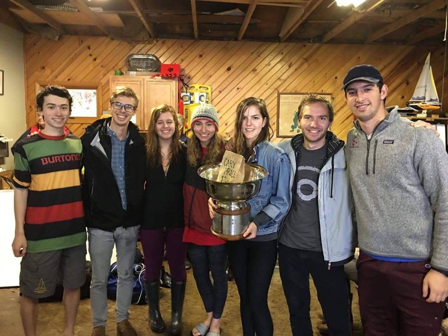The sailing team poses with their trophy from the Carey Price Memorial Regatta.