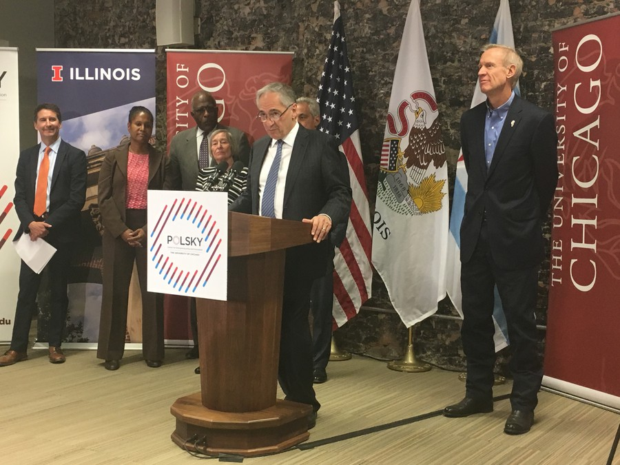 President Zimmer was joined by Mayor Rahm Emanuel and Governor Bruce Rauner at the announcement of the new collaboration at the Polsky Center.