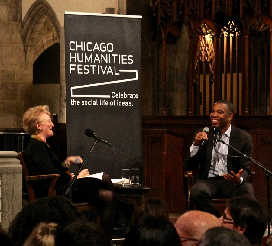 "Krista Tippett (left) interviews Ta-Nehisi Coates (right) for her podcast ""On Being."""