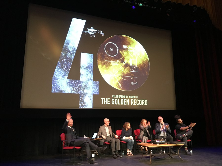 "A panel at Cal Tech commemorates the Golden Record with speakers such as the project scientist Ed Stone (left) and ""Interstellar"" producer Lynda Obst (center right)."