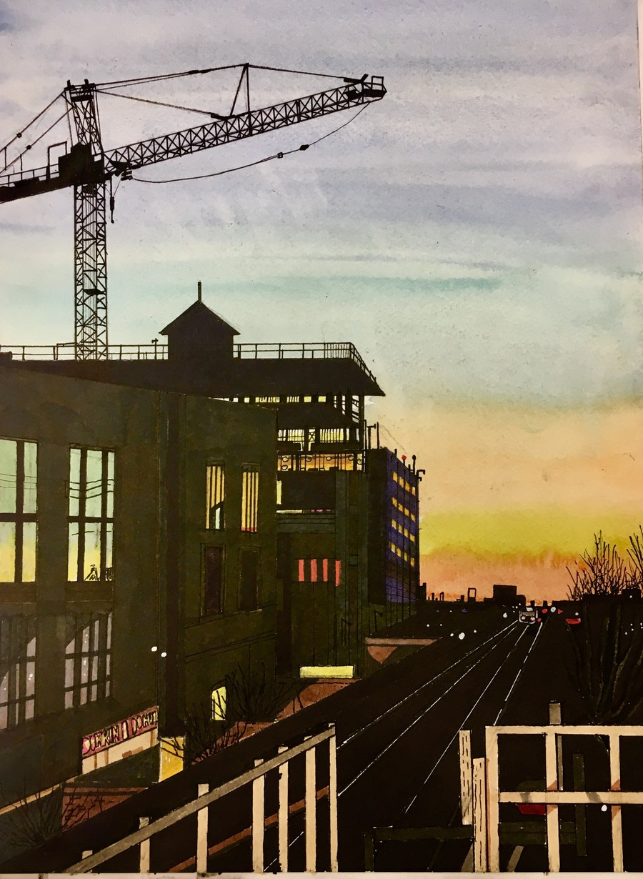 Mixed Media. Seen from the Green Line on a cold February night.