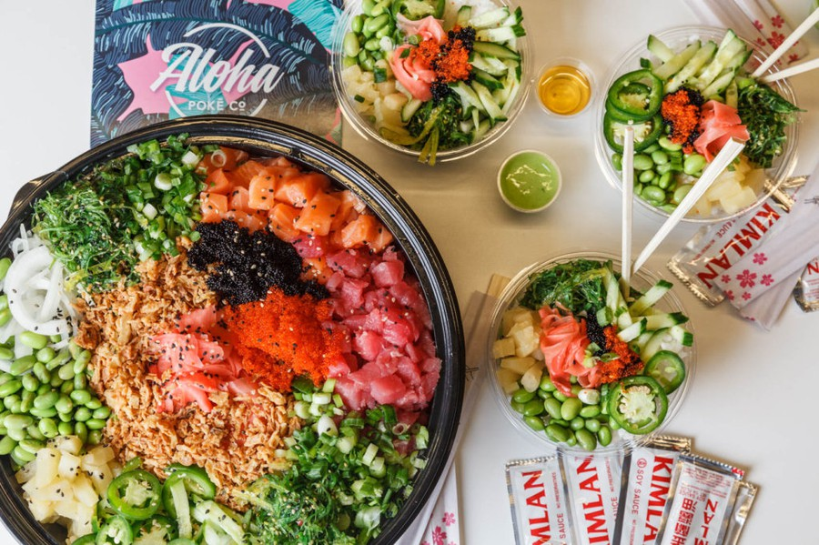 Poke is Hawaiian raw fish salad, often served with tuna or octopus.