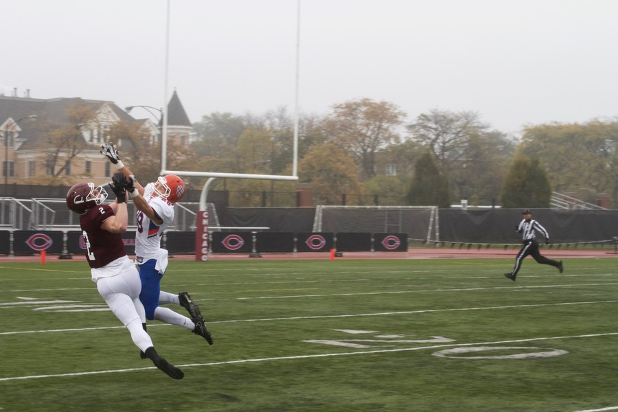 Fourth-year wide receiver Jamie Rieger prepares to catch a pass.