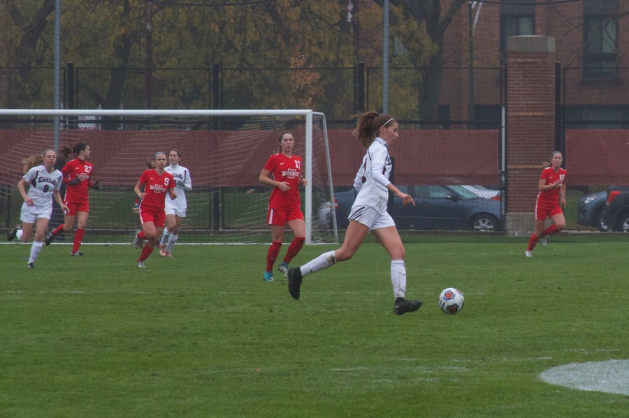Second-year Mackenzie Peebles dribbles the ball for the Maroons.