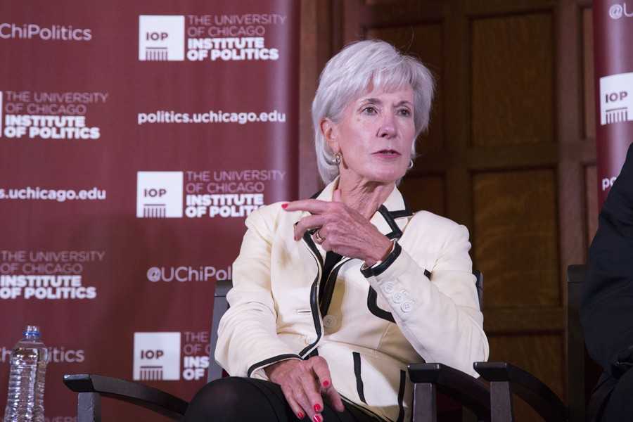 Former Obama administration HHS Secretary took part in an health care panel at the Institute of Politics.