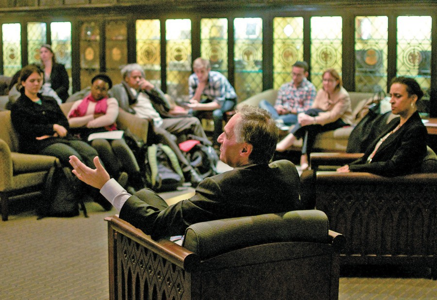 President Zimmer taking student questions at an open forum in 2011.