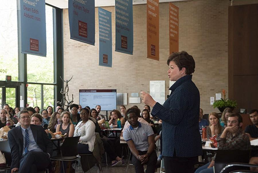 Former Senior Advisor to Obama Valerie Jarrett spoke to Harris School students at an event in May.