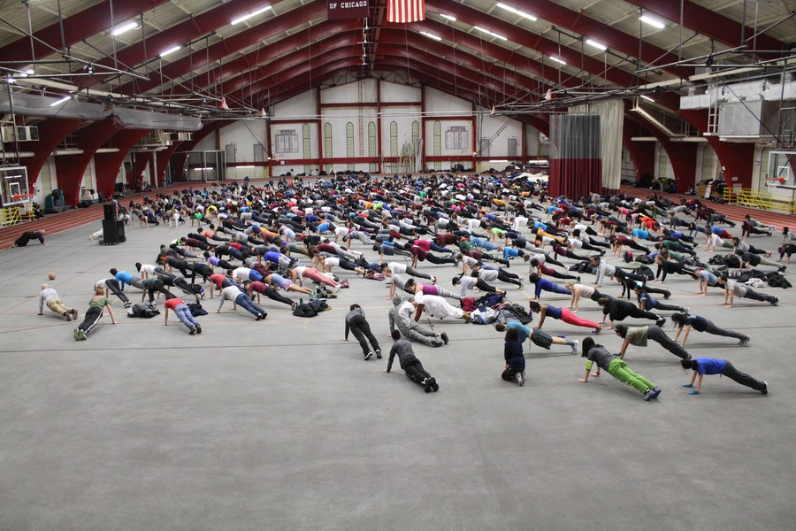 Participants perform their sun salutations