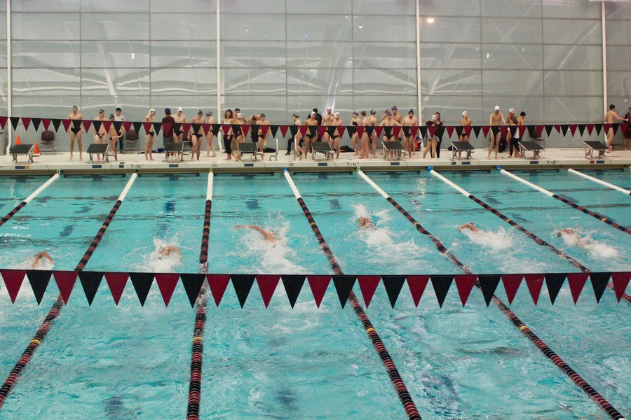 The swim team swims its way down the lanes on January 12.