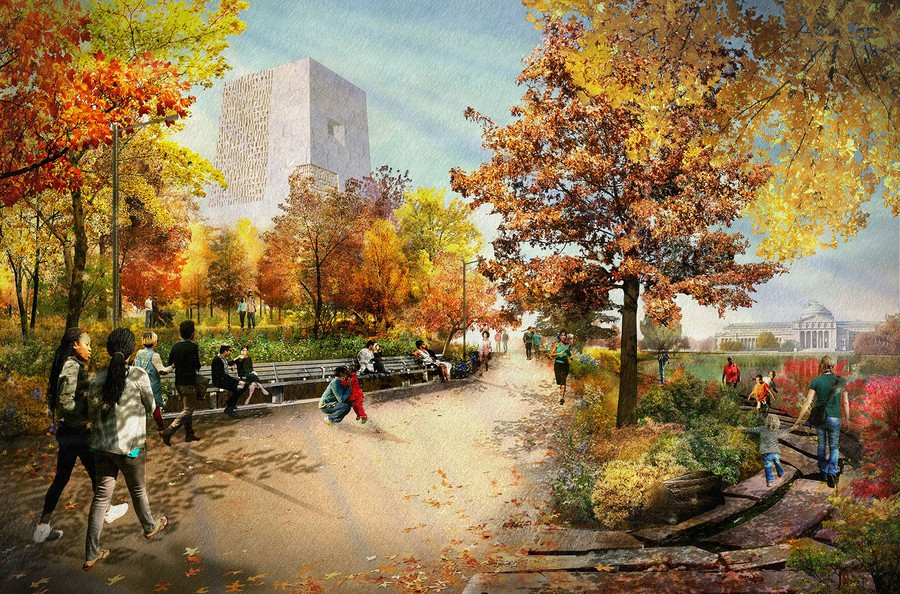 The current plan calls for the center to be situated on a large plot of land in Jackson Park.