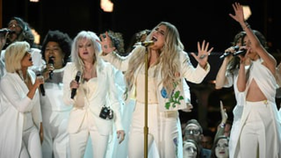 "Kesha performed her Grammy-nominated single ""Praying"" wearing all white as part of the evening's stand in solidarity with the #MeToo movement."