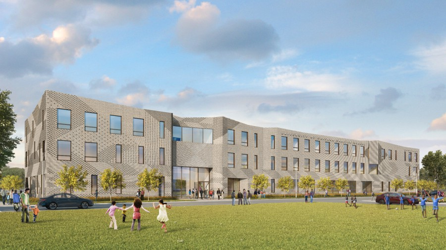 Rendering of the new Woodlawn campus of the University of Chicago Charter Schools.