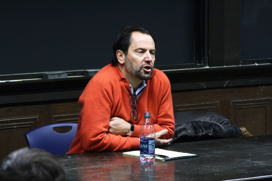 Professor Luigi Zingales, who invited Steve Bannon to a debate on campus, ponders a student question at a town hall in Kent.