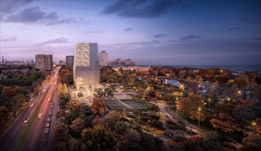 One of several renderings of the Obama Presidential Center in Jackson Park released in January 2018.
