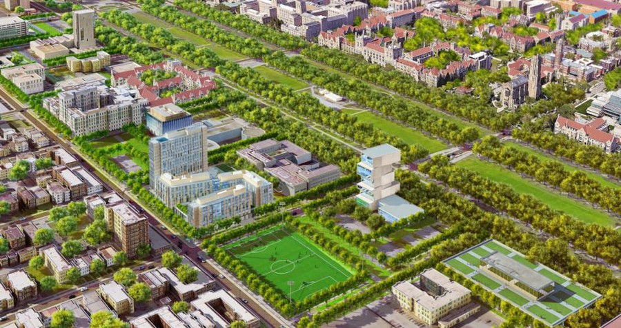 These renderings depict the view from Southeast of the future Woodlawn Residential Commons.