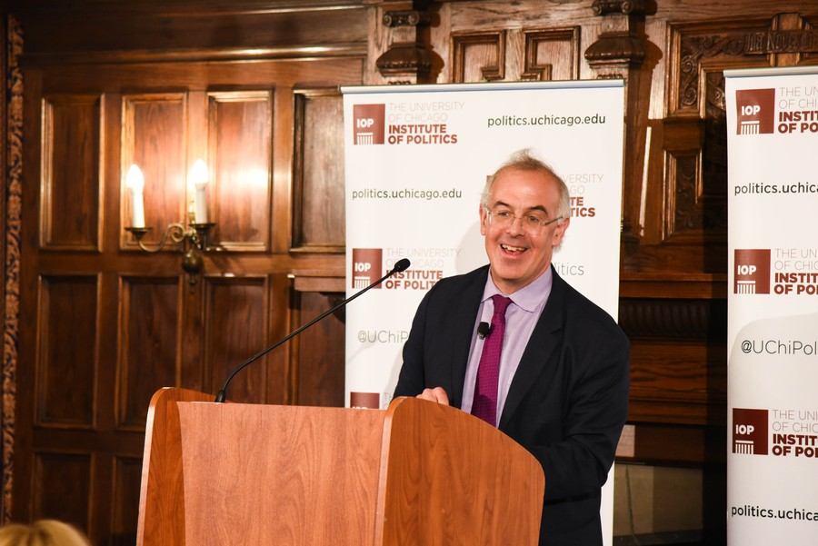 New York Times columnist David Brooks, AB '83, spoke on populism, Trump, and free speech at a talk in Ida Noyes on Monday evening.