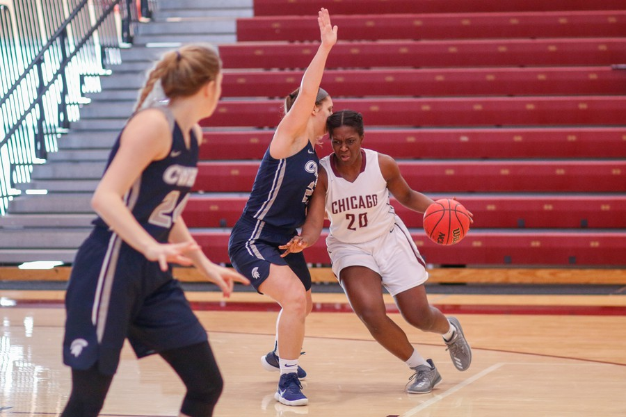 Third-year Olariche Obi brings the ball into the paint against Case Western