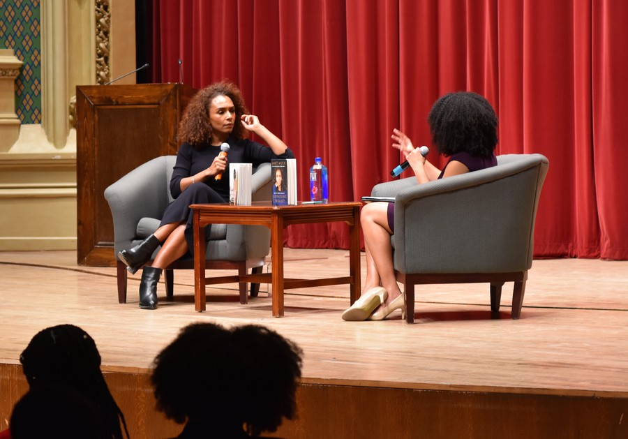 Janet Mock speaks at Mandel Hall on Thursday to share her story as a Black trans woman with fourth year Darien Dey.