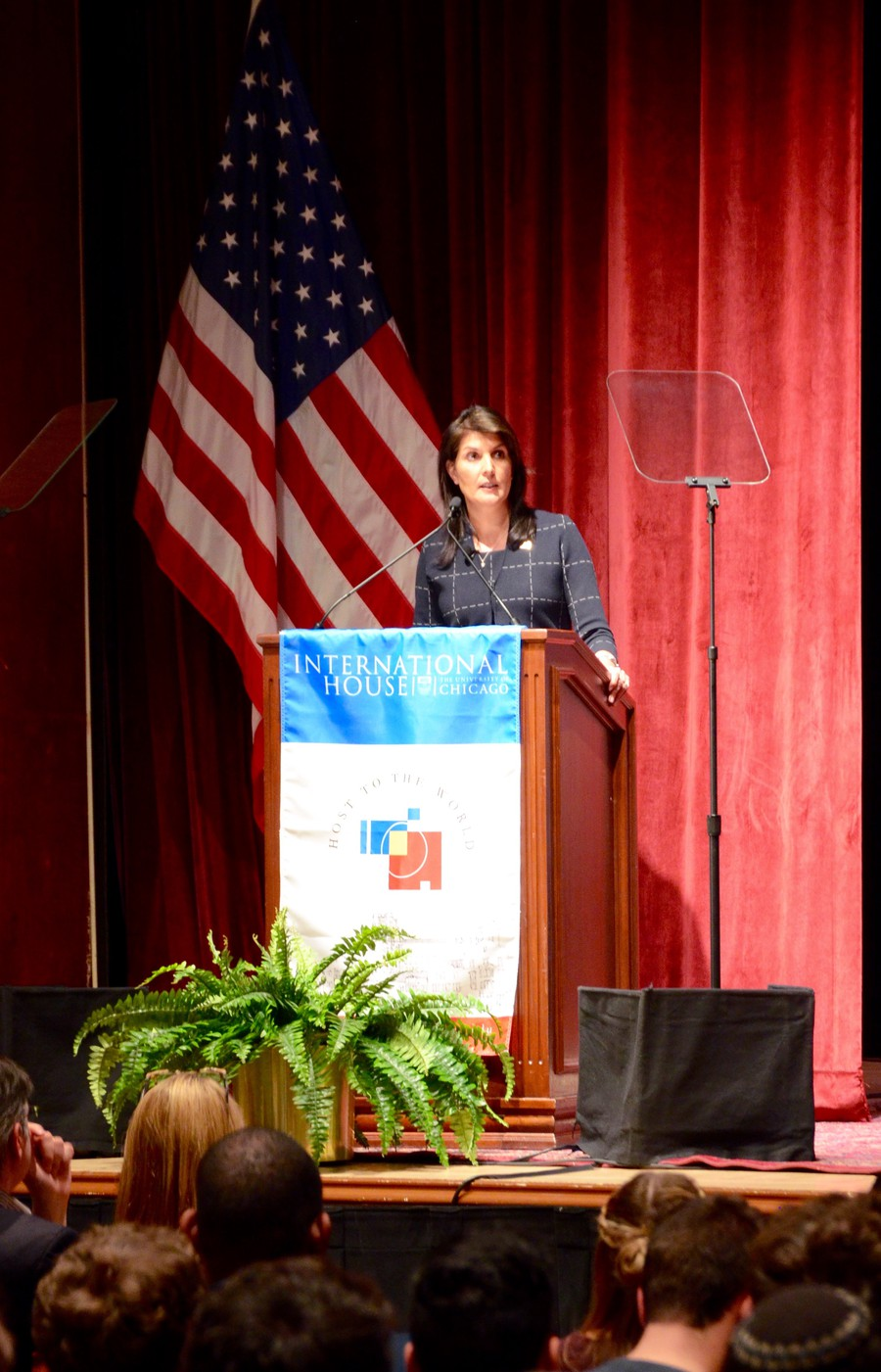 Nikki Haley, the United States' Ambassador to the UN, presents a short address to students about the value of the UN at a time of tense foreign and domestic relations.